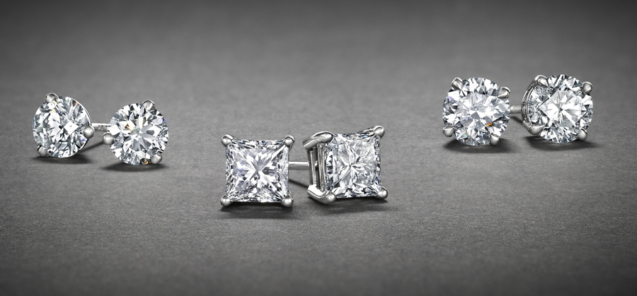 A row of sparkling diamond stud earrings