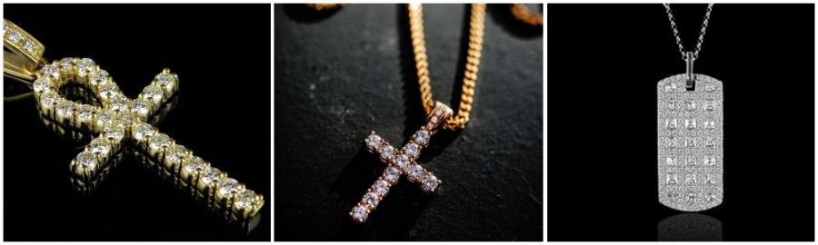 A row of diamond-studded necklaces for men including an ankh, cross, dog tag