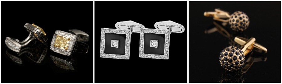 A row of men's cufflinks with different gemstones including sapphires and black diamonds