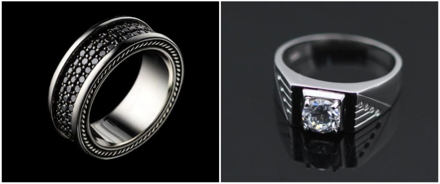 Two men's engagement rings featuring black diamonds and a large Round solitaire