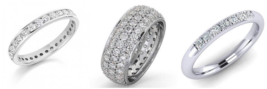 Three Eternity diamond rings of various sizes in white gold