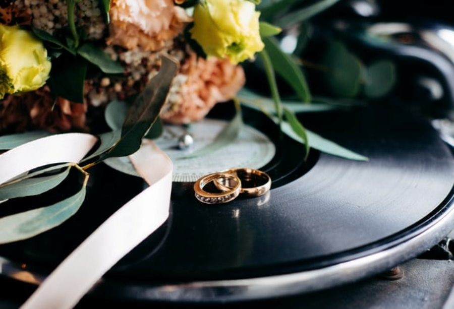 Wedding bands on a turntable