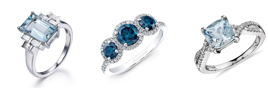 three rings with blue stones