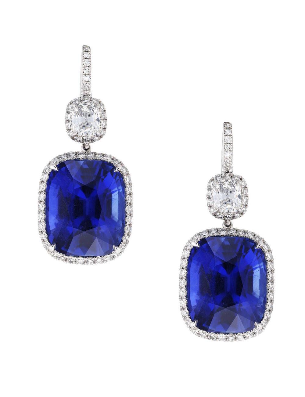 Halo-Diamond-Sapphire-Leverback-Earrings