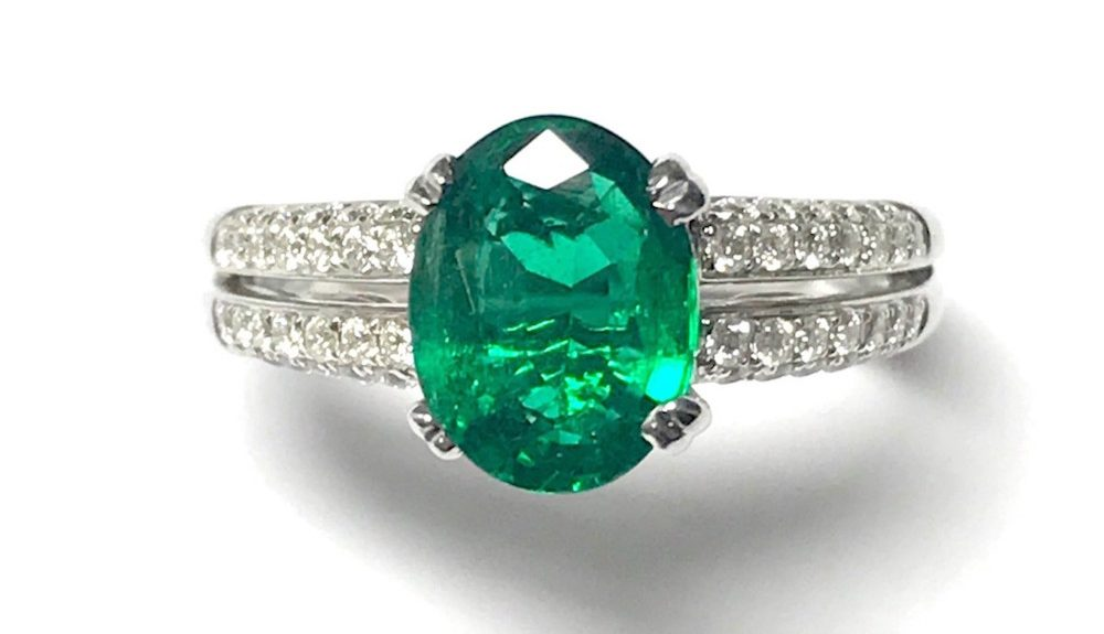 Emerald-Double-Diamond-Shoulder-Engagement-Ring
