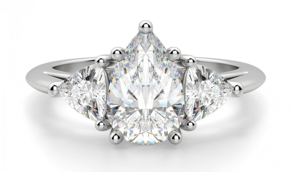 Pear-Cut-Trapazoid-Side-Diamonds-Engagement-Ring